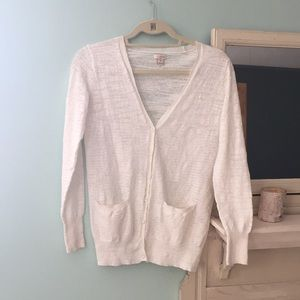 J. Crew Linen White Beach Cardigan